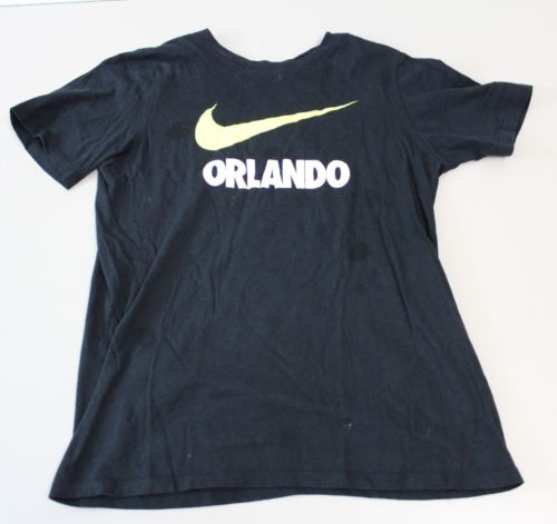 The Nike Tee Athletic Cut Women's Black T-shirt Orlando Swoosh Sz medium M