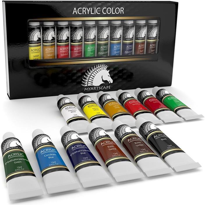 Acrylic Paint Set - Artist Quality Paints for Painting Canvas, 12 x 12ml Body C