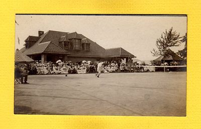RPPC Unknown location, fairly large crowd watching tennis match, nice Club House