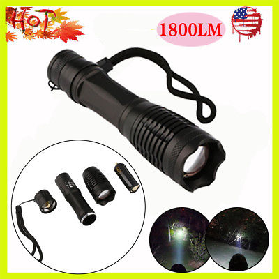Zoomable CREE XML T6 LED 1800 Lumen 18650 AAA Flashlight Focus Torch Lamp Light