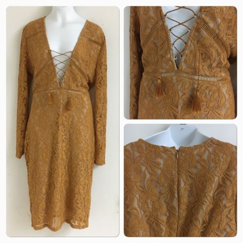Love fire clothing muster yellow lace dress front tie 3/4 sleeves Large