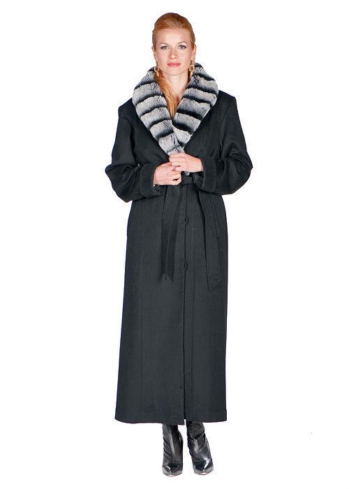 Fur Collar Cashmere Coat for Women Rex Rabbit Chinchillette© Trim Collar & Cuff