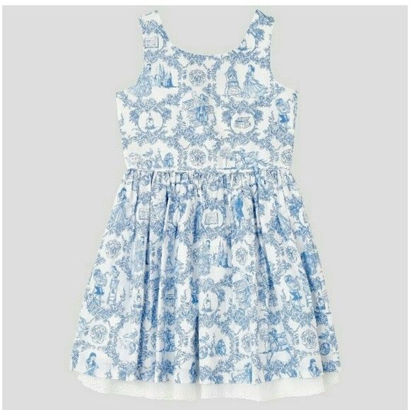 NWT DISNEY 18M Beauty & the Beast Blue White French Toile Dress  Size 18 Months