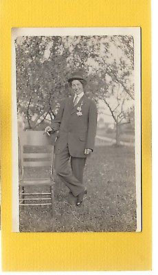RPPC Lady cross dressed as man, holding cigar Calumet County,WI