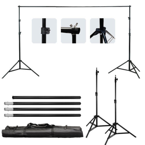 10Ft Adjustable Background Support Stand Backdrop 4 Crossbar Kit Extend to 3M