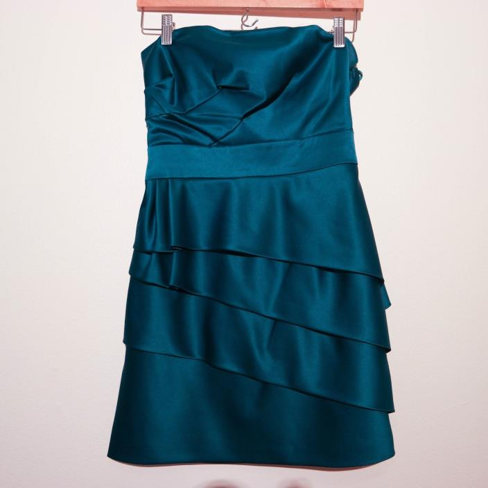 BCBG Max Aziria Paris Teal Satin Strapless Tiered Dress sz 4