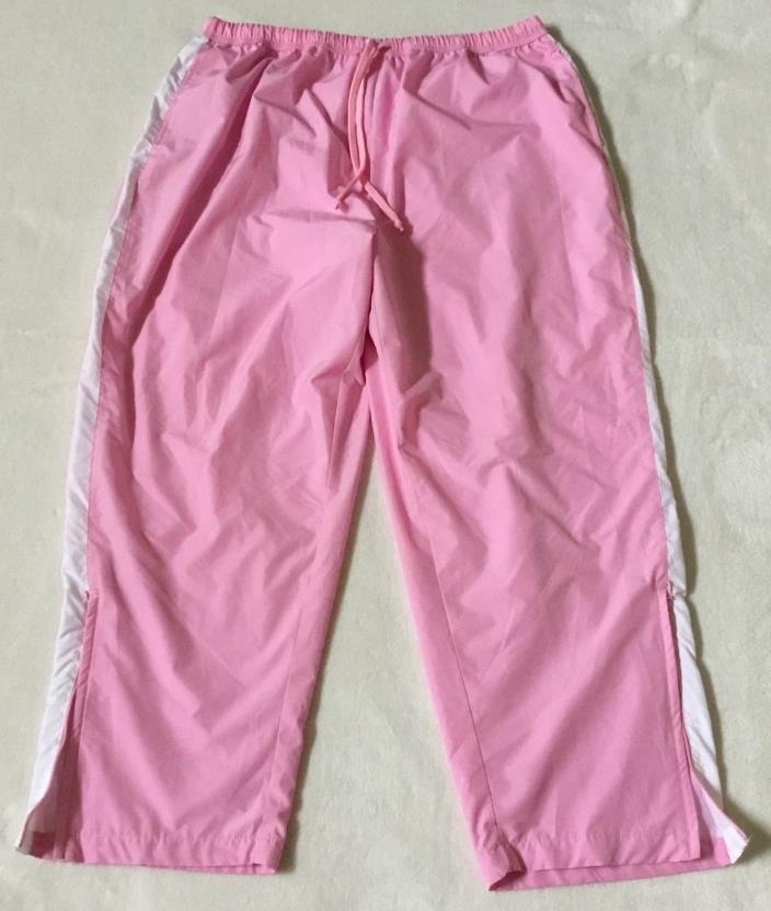 Plus Size JMS Pink Athletic Drawstring Elastic Lined Windbreaker Pants 22W 24W