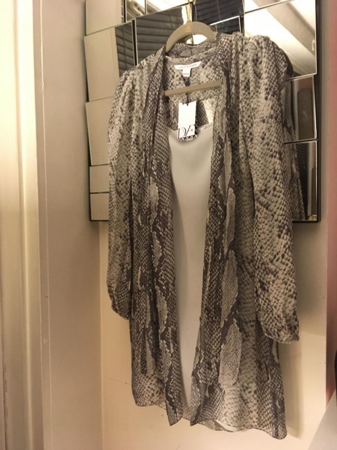 $385 DVF 2 Piece Ivory Slip & Python Print Dress Chiffon Bow Grey Diane von Furs