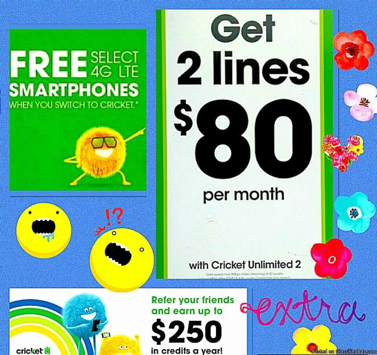 2 LINES UNLIMITED EVERYTHING ONLY $80/MO @CRICKET & GET FREE PHONES!