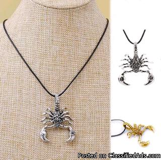 HOT Fashion Vintage Titanium Steel Silver Gold Scorpion Chain Pendant Necklace