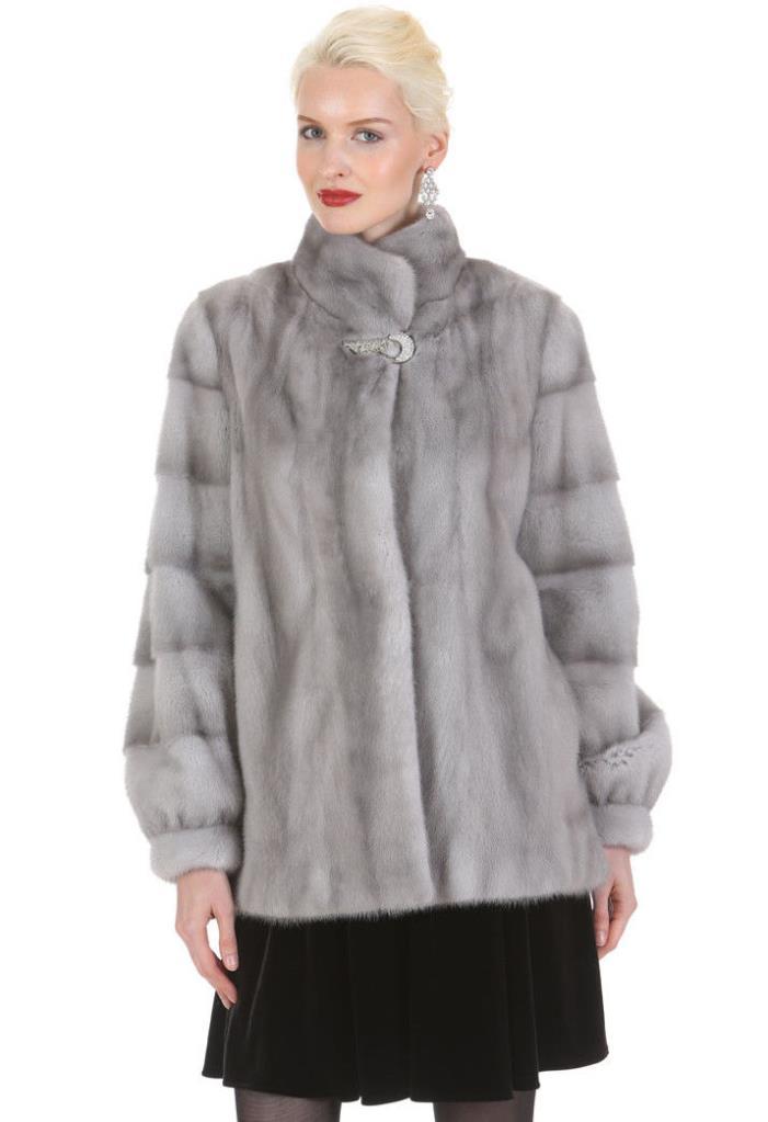 Womens Real Mink Fur Jacket Small 6 - Crystal Clasp Sapphire Mink