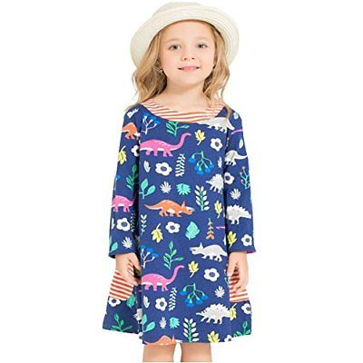 Bleubell Girls Navy Long Sleeve Dress Dinosaur for Toddlers Tweens 4/5Y Dresses
