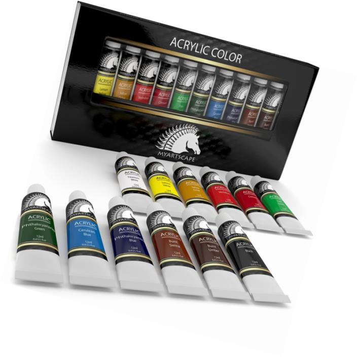 Acrylic Paint Set - Artist Quality Paints for Painting Canvas, Wood, Clay, Fabri
