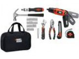 Black and decker tool pack bag drill tape measure hammer and mor
