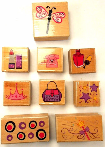 Rubber/Wood Hand Stamps Lot of 9, Mixed Themes, Girly Things