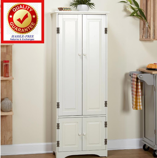 Extra Tall Kitchen Cabinet Pantry Storage Cupboard Weathered