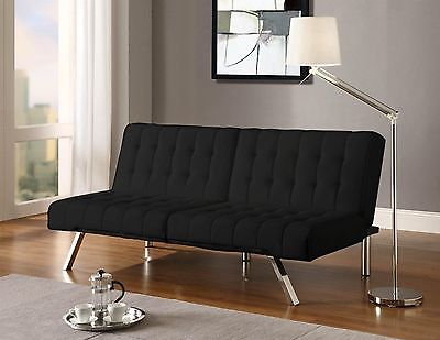 Futon Sofa Bed Faux Black Leather Couch Convertible Sleeper