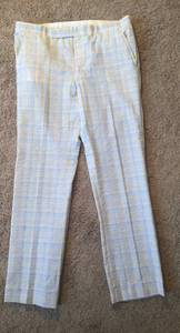 Mens 36 38 X 32 34 Blue Pink Yellow White 100% Polyester Pants Easter (West Palm