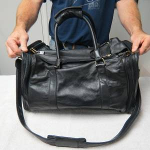 Black Genuine Leather Luggage 3 Piece Set From Sharper Image