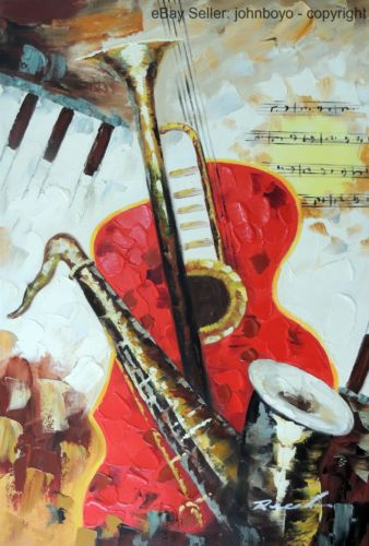 Music Abstract Guitar Keyboard Saxophone Horn 24X36 Oil On