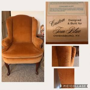 Antique arm chair, claw feet