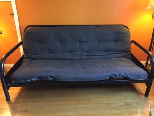FUTON Metal Arm Black Sofa Bed Couch With Mattress Sleeper