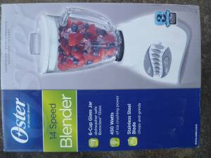 NEW OSTER 14 SPEED Kitchen BLENDER WITH GLASS PITCHER White 6803 (kennesaw)