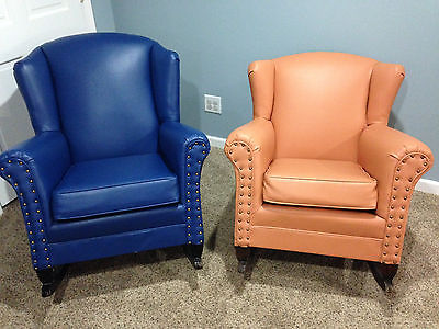 Vintage Pair of Leather Rocking Chair Armchairs Orange and
