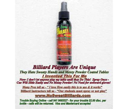 Billiard,CueSports,NoSweatLotion,NO Powder,NoGlove-ApplyOnce,CueSlidesEasily