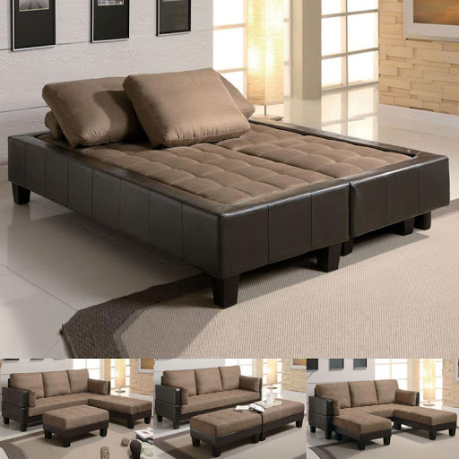 Coaster Futon Sofa Bed Best Sleeper Sectional with Ottomans