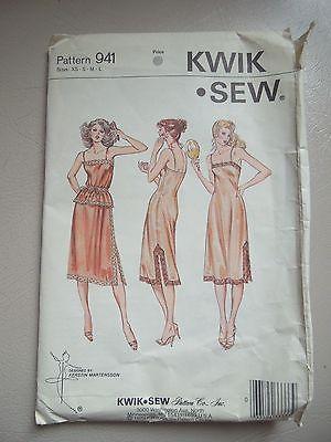Kwik Sew 941 Sew Pattern FULL & HALF SLIP - CAMISOLE Misses