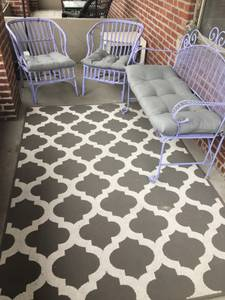 Patio or porch furniture and outdoor rug (Victorian village)