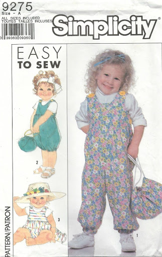 McCall's 9275 Toddlers' Overalls and Bag 1/2, 1, 2