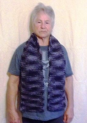 Hand Knitted Winter Scarf Blue/Silver