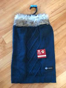 Blue Pet Sweater with Faux Fur Collar-New