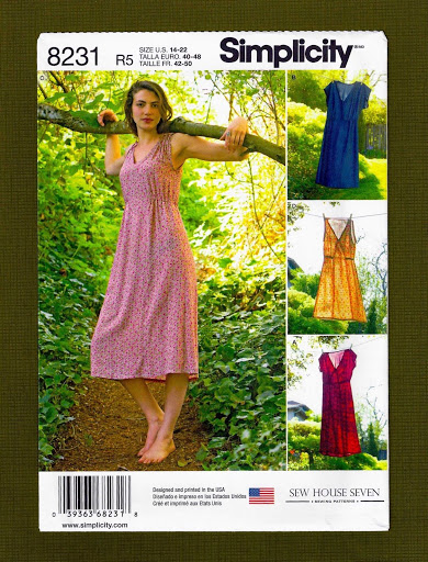Simplicity Sewing Pattern 8231~Misses Pullover V-Neck