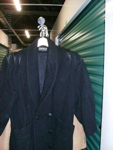 Jofeld Womens Size Med Vintage Black Wool Coat with Leather Accents (Old
