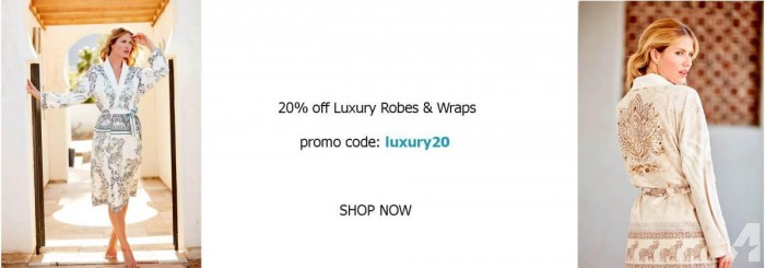 Enjoy 20% OFF Luxury Robes & Wraps on New Year 2018