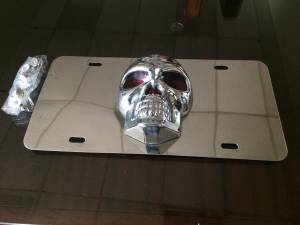 Vintage 3D Skull vanity tag plate with cover tabs (Cobb)