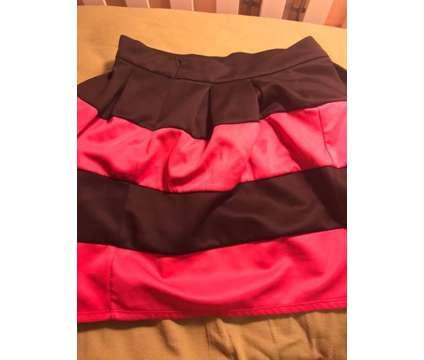 Pink & Black Striped Skirt