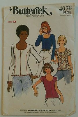 Butterick #4076 Misses' Size 12 Long and Short Sleeve Tops