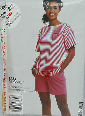 McCALL'S Sewing Pattern 4787 SIZE A - TOP & SHORTS For KNITS