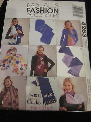McCALL'S FASHION ACCESSORIES PATTERN 4263 FLEECE SCARVES
