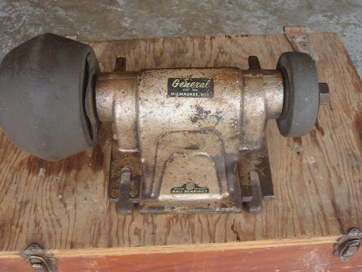 Vintage bench grinder belt driven with grinding wheels