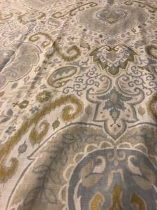 Blue, white, grey, & gold Envogue Damask Paisley Curtains