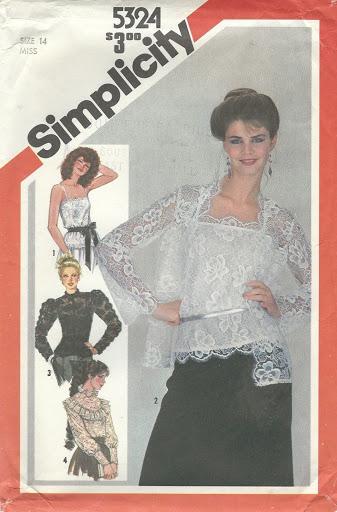 Simplicity 5324 Misses' Lace Blouses, Jacket & Camisole Size