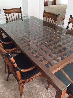 Glass-Top Dining Table, Credenza, and Chairs