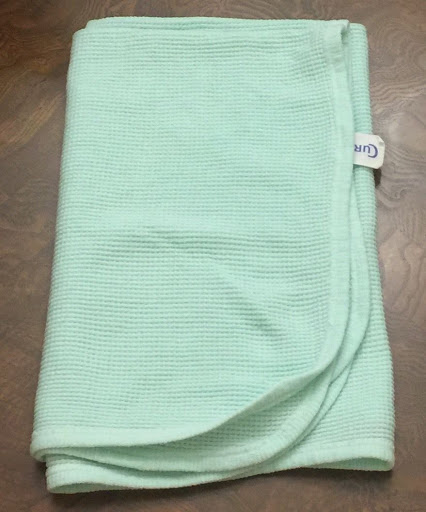 Vtg Curity Mint Green Thermal Receiving Blanket Lovey Waffle