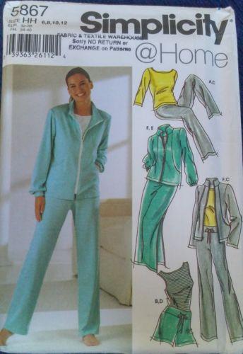 Simplicity 5867 Pattern Size 6 8 10 12 Sweats Sewing Craft