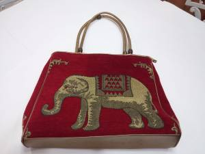 Elephant Large Tote Bag Handbag Knitting Red Yellow y146 zzzh (Tamarac, FL)